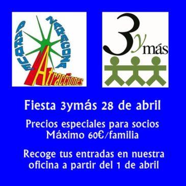 Fiesta 3ymás en el Parque de Atracciones (28 de abril)